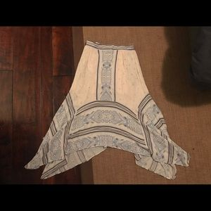 Free People Intricate Blue and Cream Boho Skirt